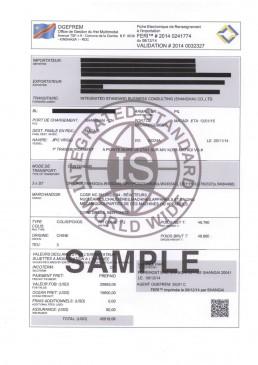 刚果金FERI电子货物跟踪单 证书样本